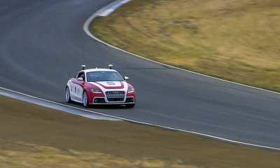 Shelley, Stanford's autonomous Audi TTS, performs at Thunderhill Raceway Park. (Image credit: Kurt Hickman