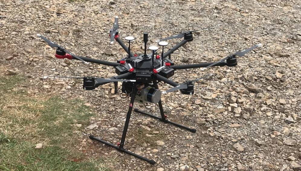 A drone equipped with the GatorEye system. Copyright: Courtesy of Danilo Almeida.