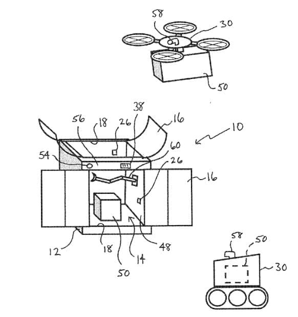 Walmart patent application for a secured delivery locker involving a drone