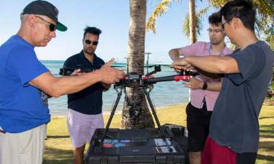 Members of the NASA Ames Laboratory for Advanced Lensing set up an unmanned aerial vehicle on May 13, 2019.