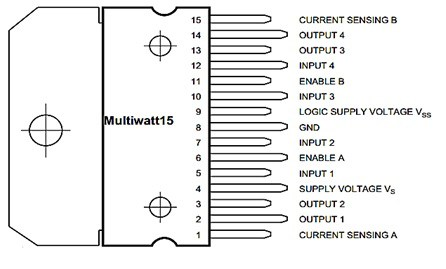 l298 Motor Driver Pin-outs