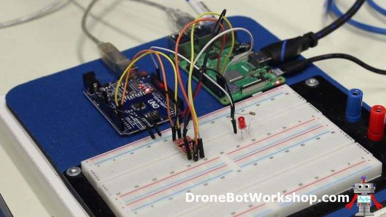 Raspberry Pi to Arduino with Converter on Breadboard