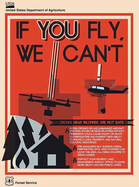 """US Forest Service """"If You Fly, We Can't"""" poster"""