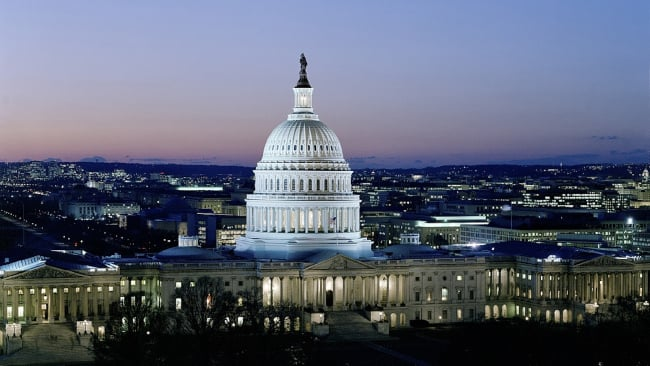 view of US Capital at dusk