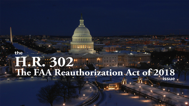 the 'H.R. 302 The FAA Reauthorization Act of 2018' issue of Dronin' On
