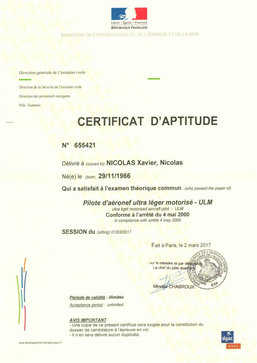 Certificat d'aptitude - Pilote d'aéronef ultra léger