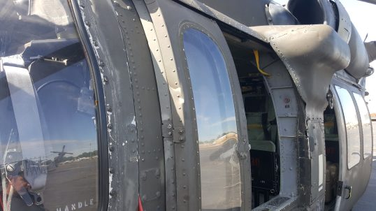 Damage to Black Hawk helicopter struck by drone over Staten Island NY