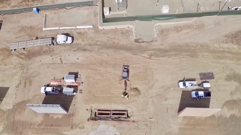 Drone video shows Border Wall Prototypes in Otay Mesa, San Diego, CA