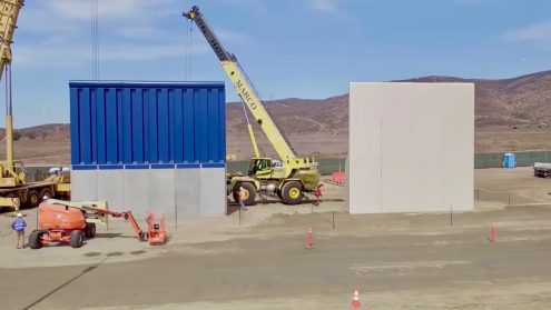 """U.S. Customs and Border Protection released b-roll video footage showing various prototypes of the border wall Trump promised during his campaign. The video is shot from a drone that flies over the various wall prototypes and like Matt Novak from Gizmodo points out: """"the drone video of border wall prototypes accidently shows how worthless the wall would be."""" Trump said that the purpose of the wall was to stop: """"drugs from pouring into this country"""". However, any affordable and easily obtainable consumer drone would have no problem flying over the wall to drop drugs on the other side."""