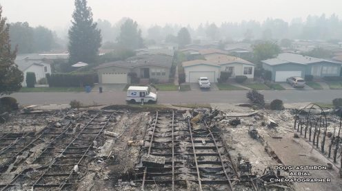 Drone video: USPS postman delivers mail in burned down Santa Rosa neighborhood0004