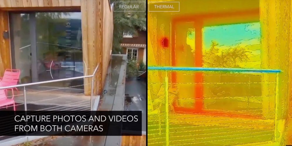 Parrot Bebop-Pro Thermal is a multipurpose quadcopter that allows architects, builders, roofers and real estate agencies to safely carry out inspections with its 2 embedded cameras: a Full HD video camera for visual inspections and a thermal imaging camera for thermal inspection.