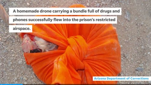 Drone delivering phones and drugs crashes inside Buckeye prison yard0005