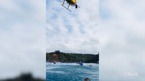 Well, I believe this is a first. During a World Surf League event at the (in)famous surf spot Jaws, a helicopter simply blows an unauthorized drone out of the sky and into the drink. Original? Yes. Smart, and safe solution, recommended by the FAA? Not so much.