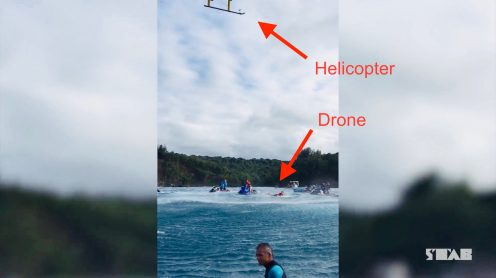 Helicopter blows unauthorized drone out of the sky at Jaws surf event [video]