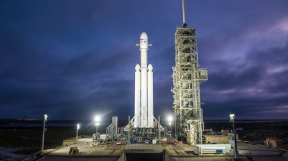 Drone video shows SpaceX's Heavy launch vehicle at Launch Complex 39A