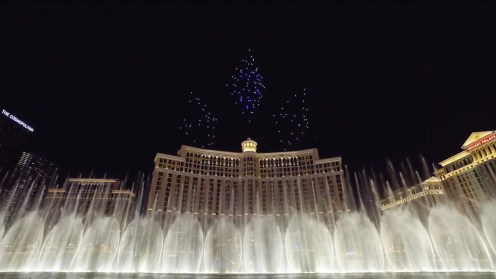 Intel shows of it drone swarm skills during a light show at the Bellagio 0006