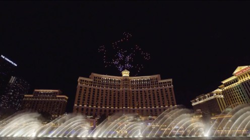 Intel shows of it drone swarm skills during a light show at the Bellagio 0012