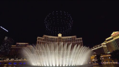 Intel shows of it drone swarm skills during a light show at the Bellagio 0023