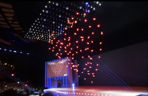 Intel shows off with 100 tiny drones flying inside at CES 2018