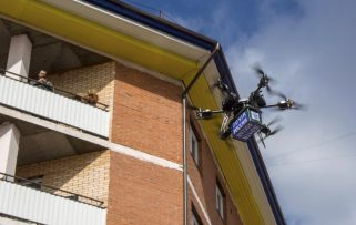 Russian postal drone crashes into a wall during debut flight 0001