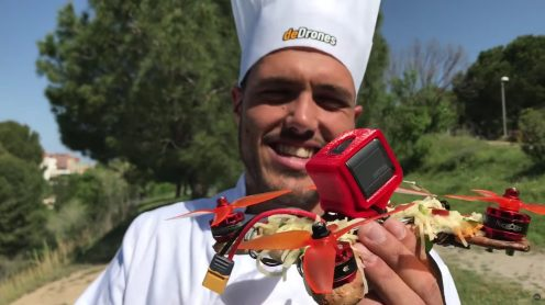 Pizza delivered by pizza-drone