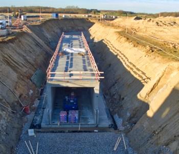 foto taget af dronefyn af service tunnel på nyt OUH