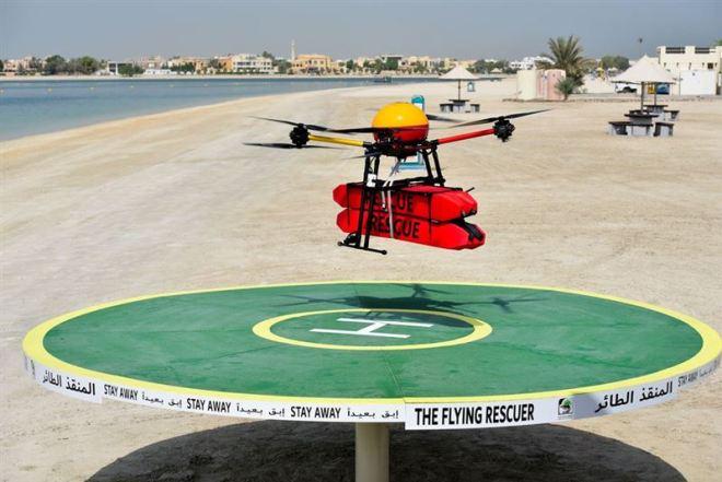 dubai flying rescue drone