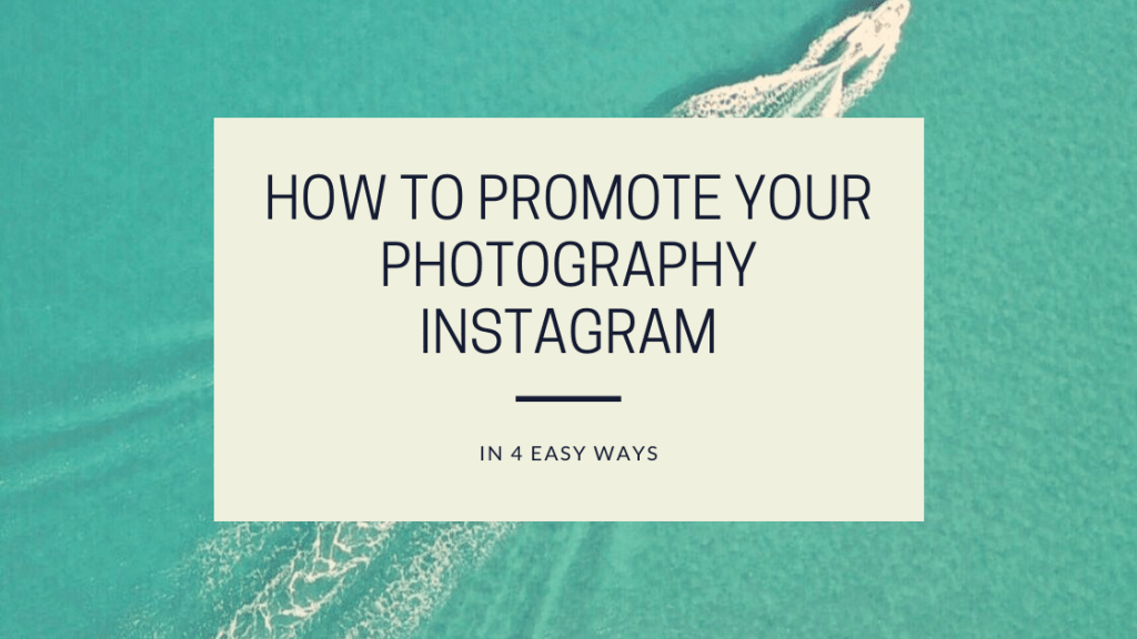 This photo is from the Drone Photography Bible website. It is the featured image for the blog post, How to promote your photography Instagram in 4 easy ways.. The image features an aerial photograph, taken by a drone, of a speed boat cruising through the water.