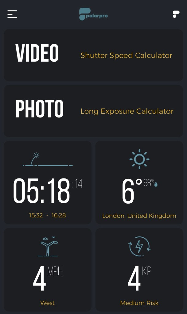 Polarpro app home screen image from drone photography bible article 'how to us the polarpro app properly'.