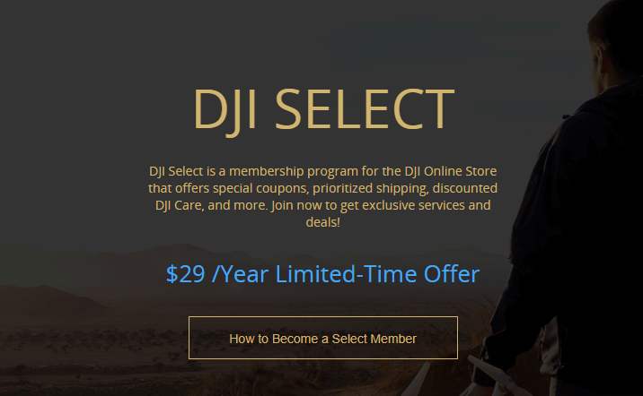 DJI Launches Select Membership Program: Discounts, Coupons, Deals, Priority Shipping