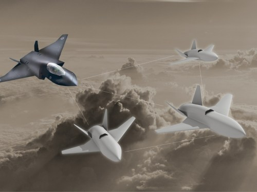 FCAS: RAF mock up of Tempest aircraft operating with 'loyal wingman' drones