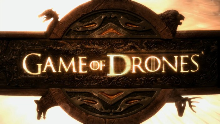 Game of thrones title page with drones replacing thrones
