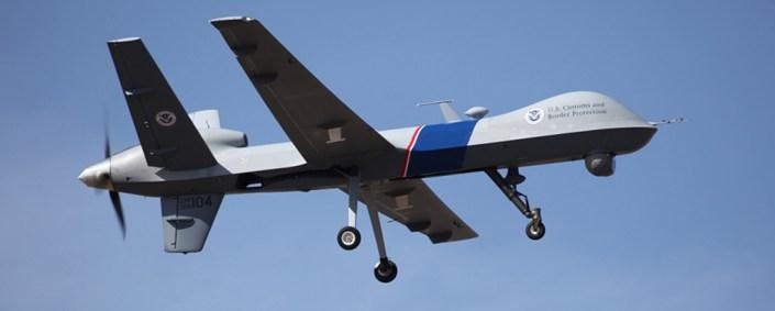 A unitedstates preditor drone flying thru the sky