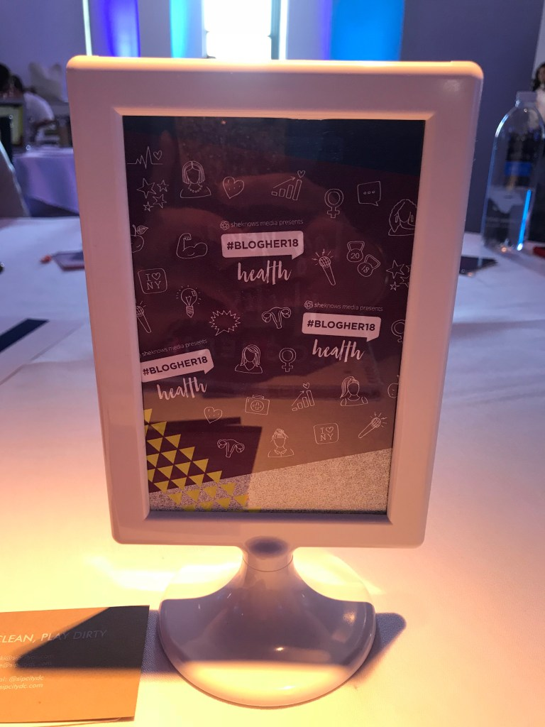 #BlogHer18 Health table sign