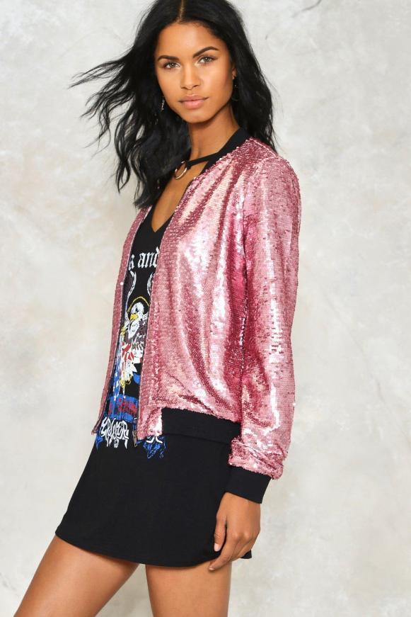 jaqueta bomber paite glitter rosa pink nastygal dropando ideias wishlist
