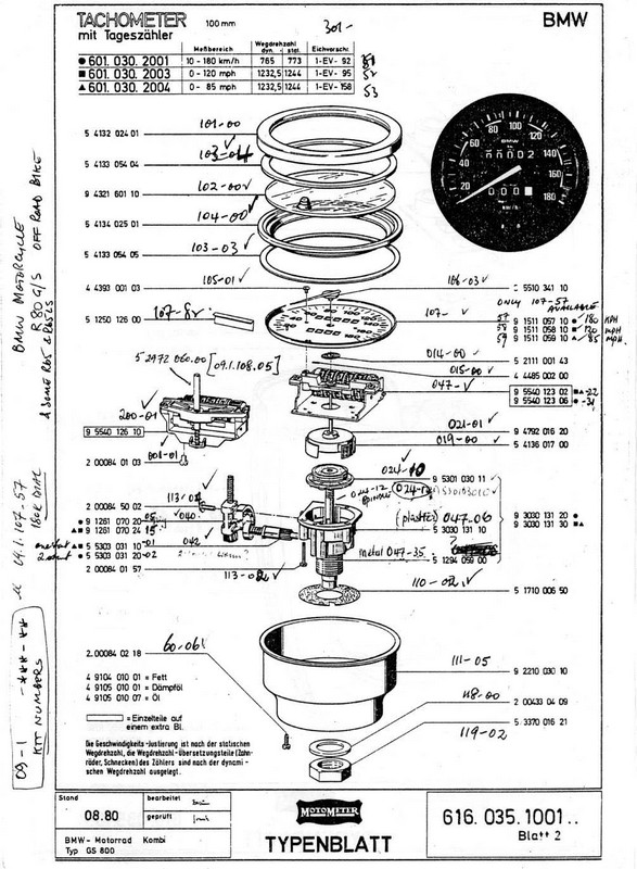 BMW 1980 Motometer Parts Diagram