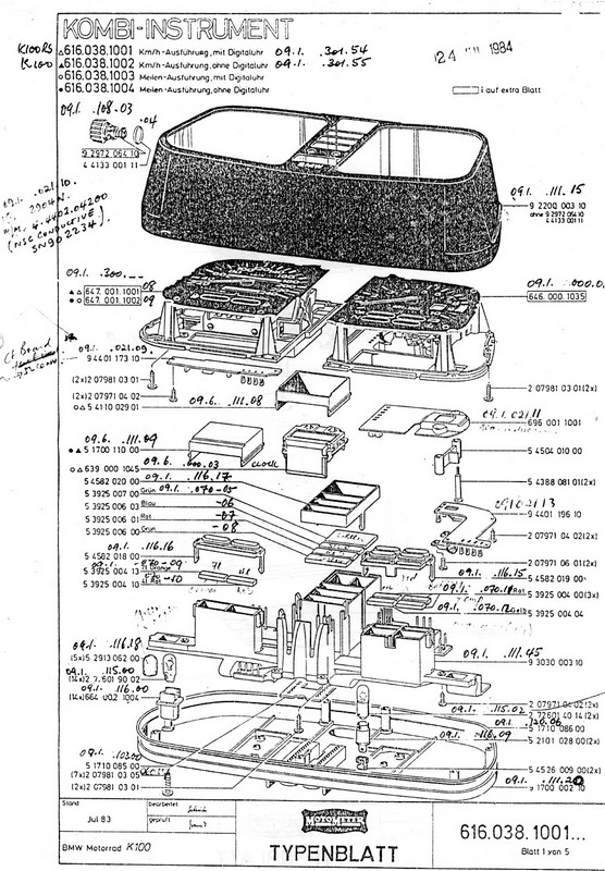 BMW 1984 K100 Motometer Parts Diagram
