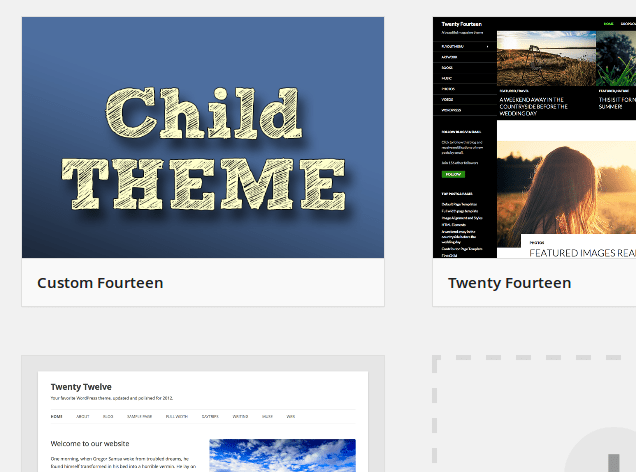 Child Theme Wizard themes manage
