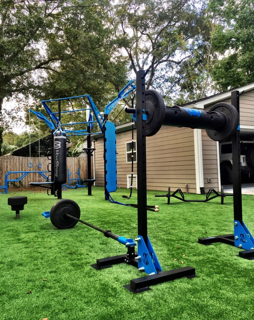 A more comprehensive (and expensive-looking) garden gym using MoveStrong equipment.