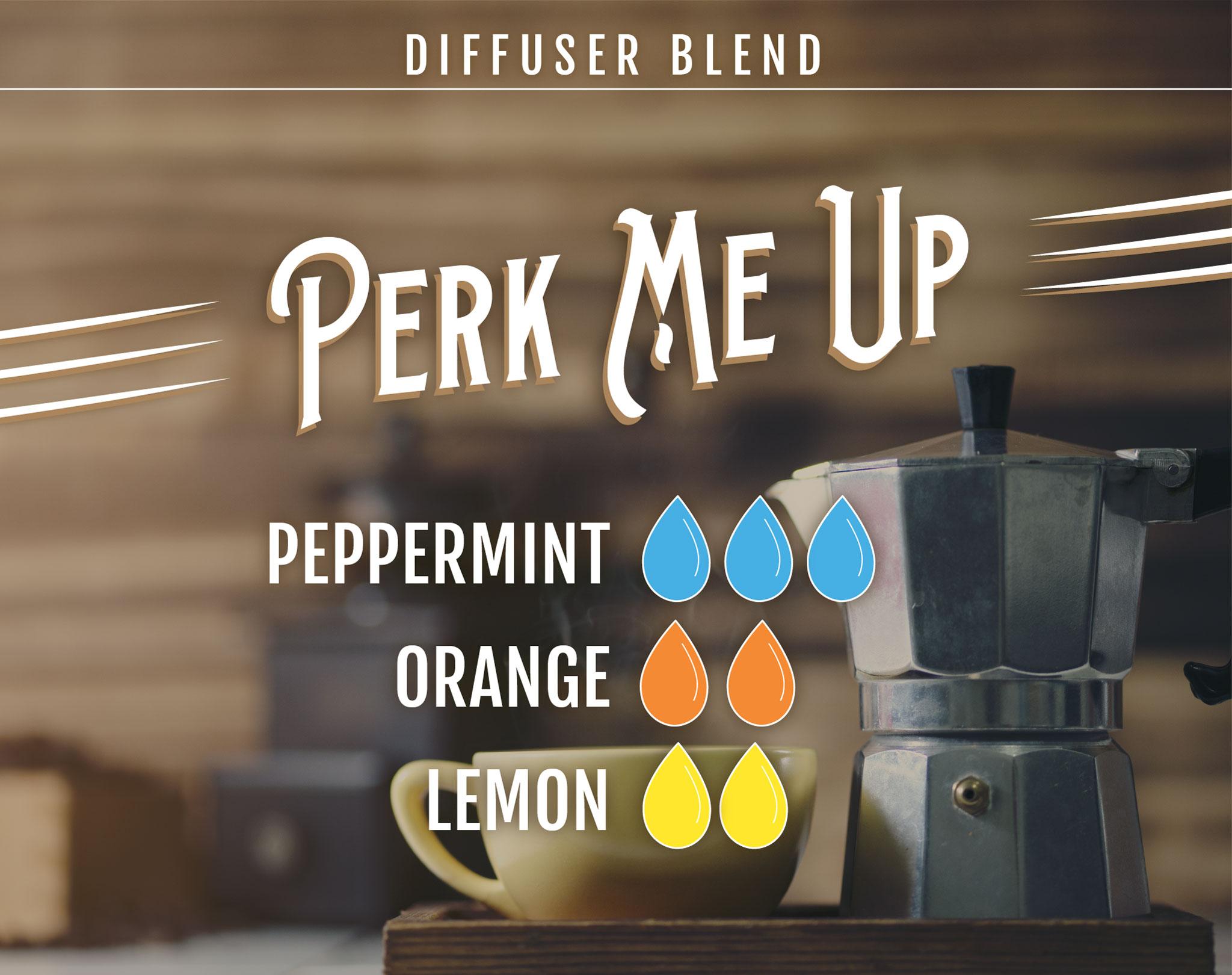 Perk Me Up Essential Oil (EO) Diffuser Blend: 3 drops Peppermint EO, 2 drops Orange EO, 2 drops Lemon EO