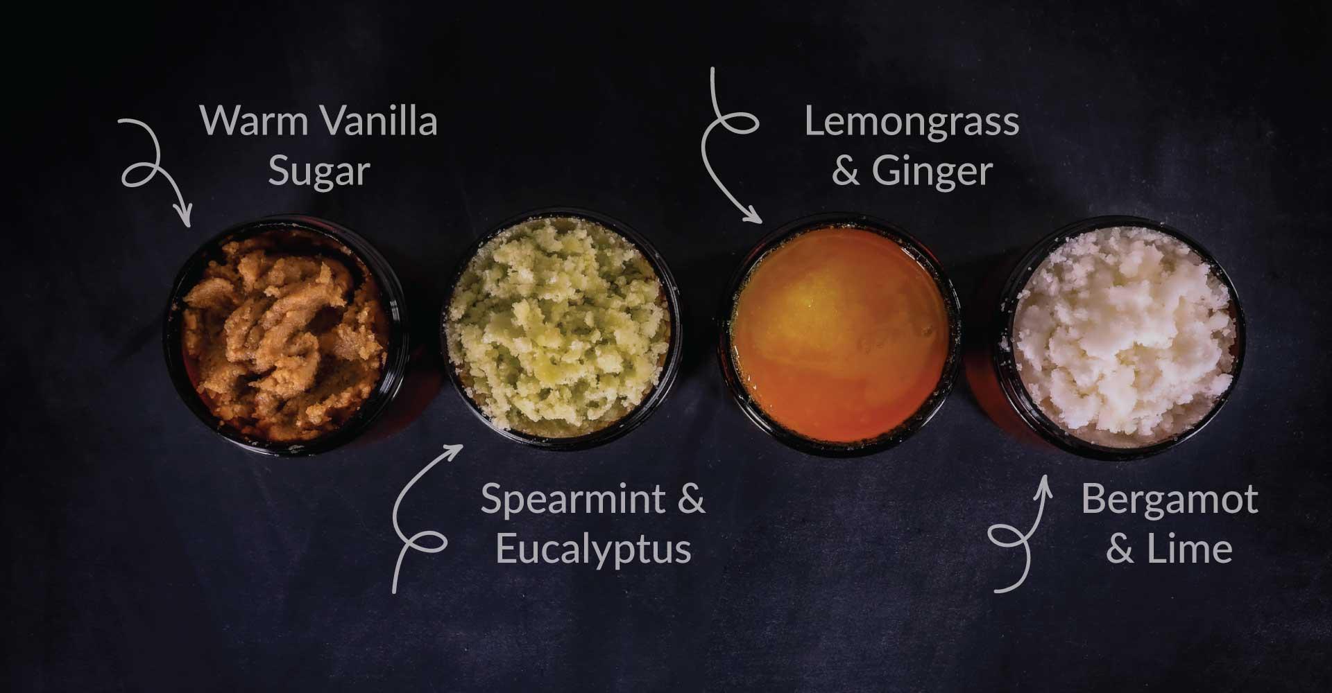 4 DIY Sugar Scrubs, Warm Vanilla Sugar, Spearmint and Eucalyptus, Lemongrass and Ginger, Bergamot and Lime