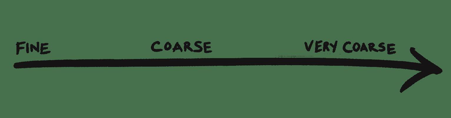 Arrow - Sugar Coarseness - Fine to Coarse to very coarse