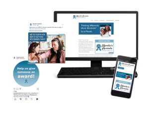 The Maude's Awards website is displayed on a monitor and smartphone, with 2 sample social media posts alongside.