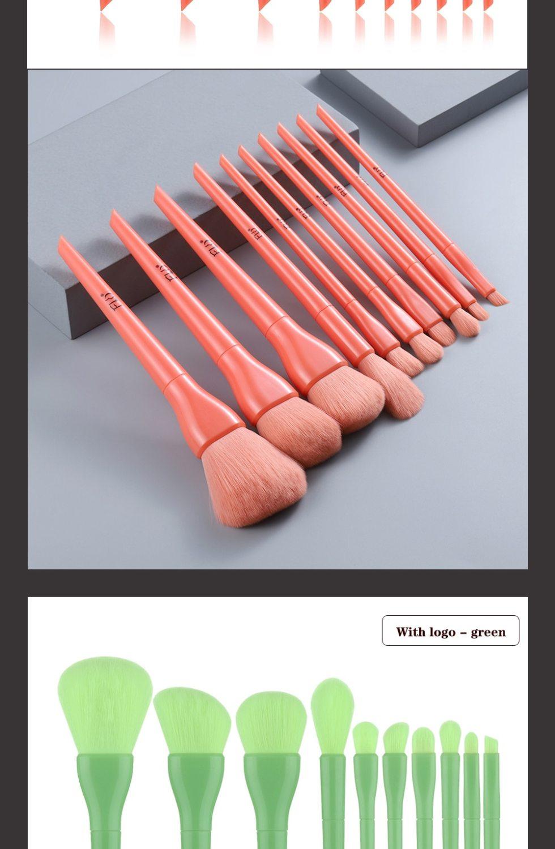 Candy Color Natural Fiber Makeup Brushes 10 Pcs Set