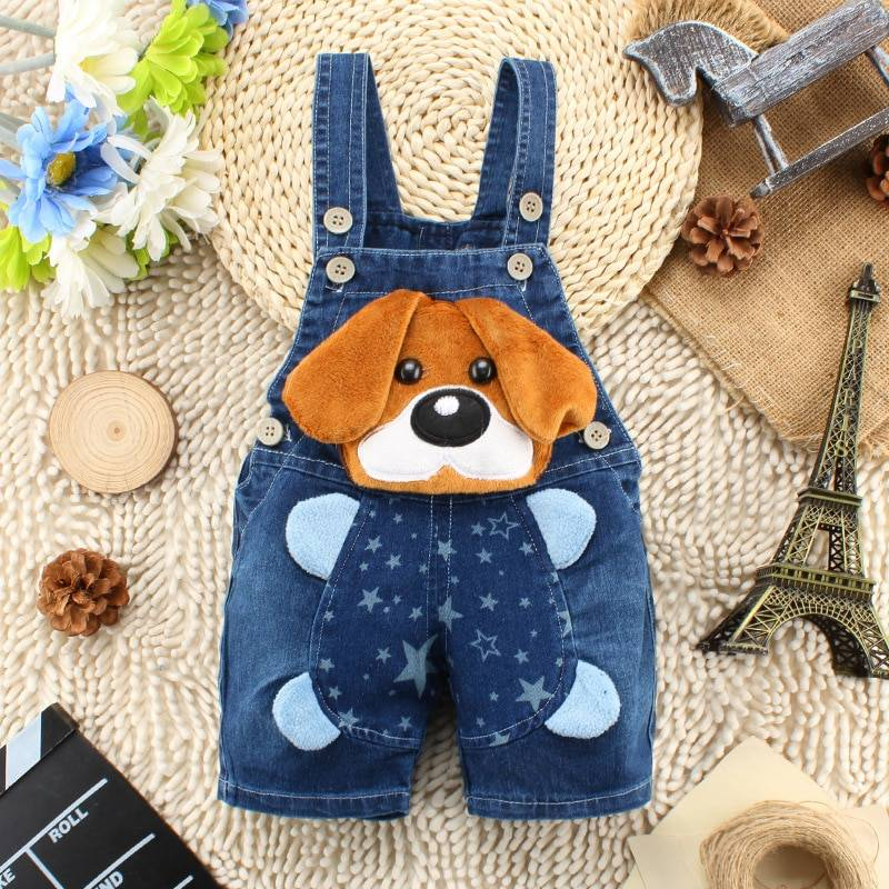Baby Boy's Dog Style Denim Dungaree
