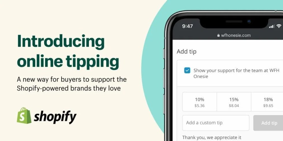 Shopify tipping option