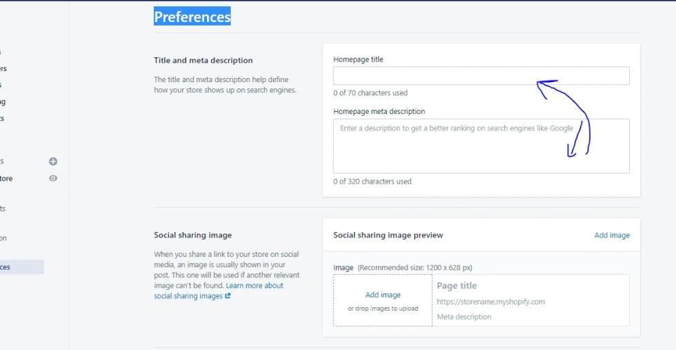 Shopify preferences