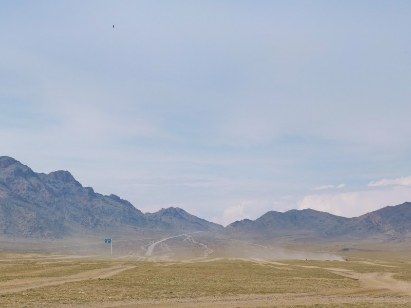 Amazing landscapes, lack of roads, traditional life and smiling, hospitable people are some of the main reasons to leave your heart in Mongolia. Here: the 'road' out of Khovd, the main town of Western Mongolia.