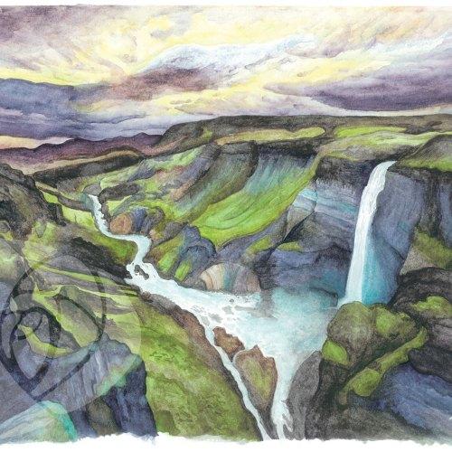 Háifoss Waterfall, Iceland by Danielle Rose