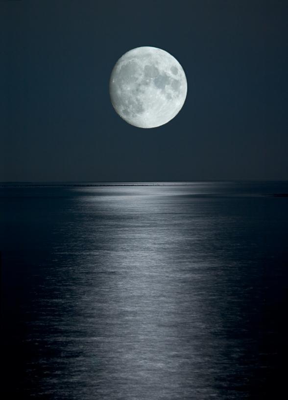 full moon in black